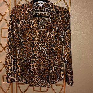 Express slim portfolio leopard print blouse